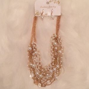 Lovely Pearl & Gold Chain Statement Necklace Set